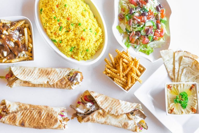 wraps rice fries and a salad