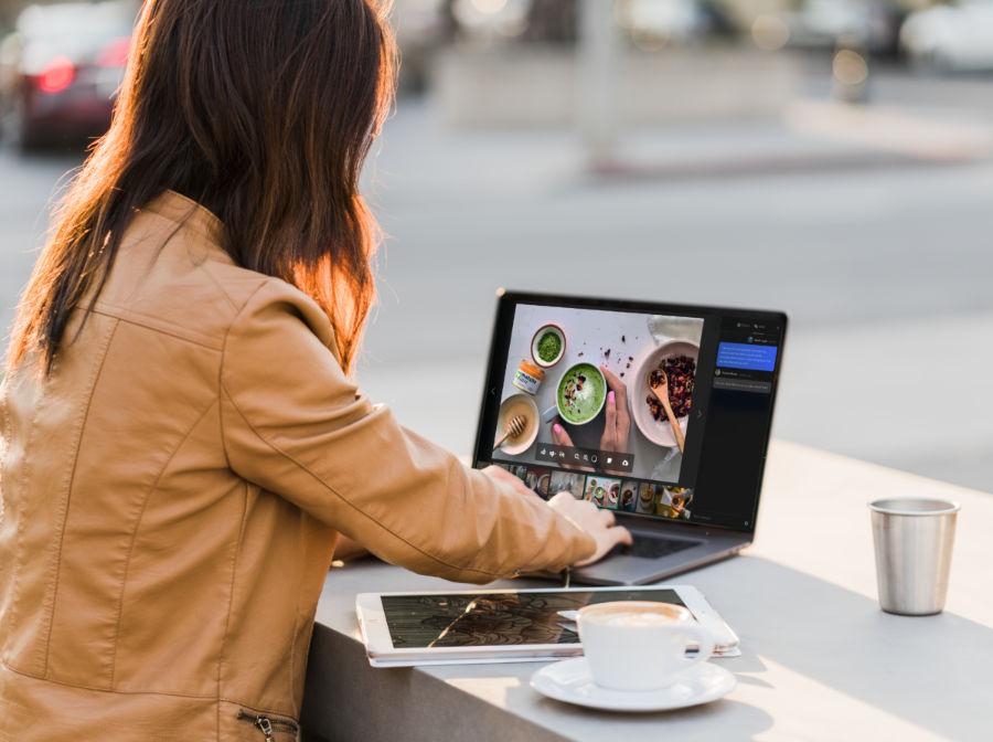 female on snapwire platform on laptop